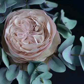 """Роза """"Остин"""" с эвкалиптом в вазе"""