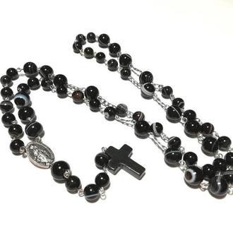 Четки католические черные,  Розарий Агат глазковый, четки розарий из натурального камня \ Ч - 104