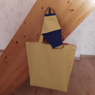 "Маска многоразовая трехслойная + Сумка шоппер ""Желтая"""