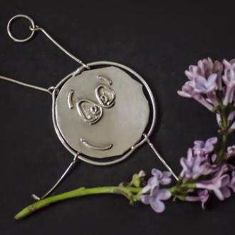 серебрянный кулон смайлик,  подвеска смайл, двухсторонний кулон