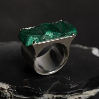 серебряное кольцо Малахитовый храм