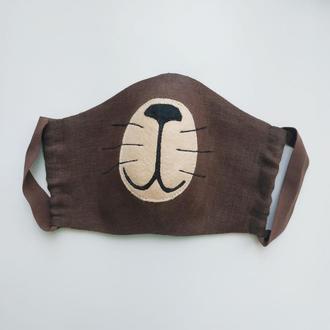 Льняная маска для лица котик мишка