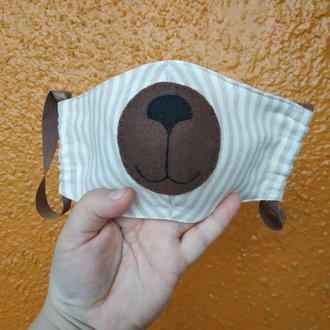 Маска для лица мишка из льна