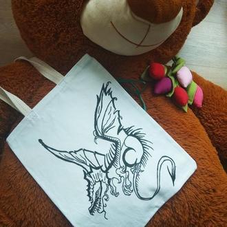 Сумка с рисунком, сумка расписанная, сумка с драконом, дракон