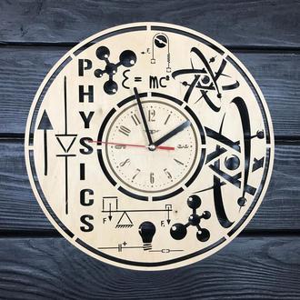Оригинальные деревянные часы не стену «Физика»