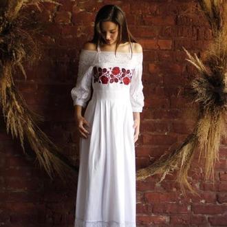 белое вышитое платье в пол в стиле бохо, біла вишита сукня в стилі бохо з відкритими плечима