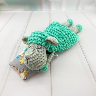 Грелка-комфортер для малыша, овечка мятная