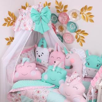 Комплект в кроватку в Розово-Мятных тонах