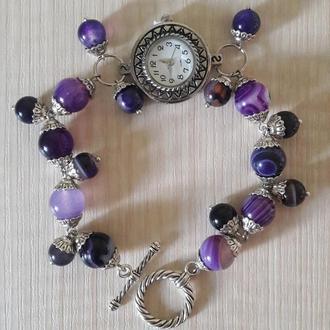 Дизайнерский браслет-часы из агата