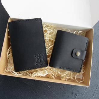 Мужской подарочный набор: кожаный кошелек + обложка на паспорт