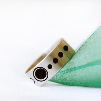 Каблучка з медичної сталі з геометричним візерунком