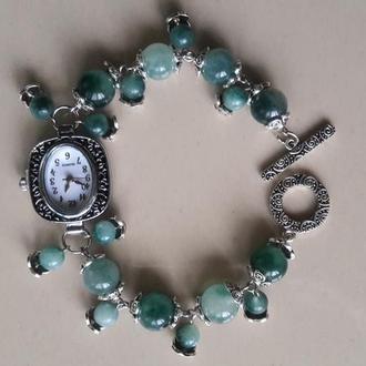 Дизайнерский браслет-часы из камня