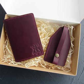 Набор кожаных изделий: ключница + обложка на паспорт