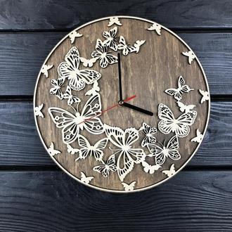 Очаровательные деревянные часы на стену «Бабочки»