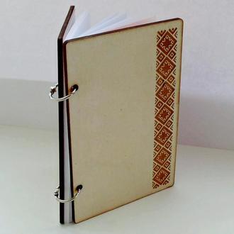 Блокнот с деревянной обложкой Вышиванка
