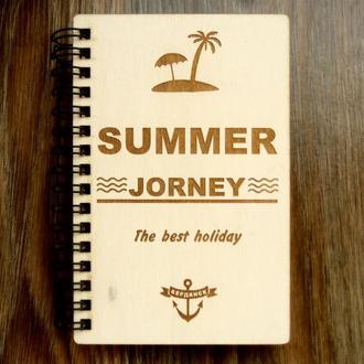 Блокнот Summer jorney А6 с деревянной обложкой