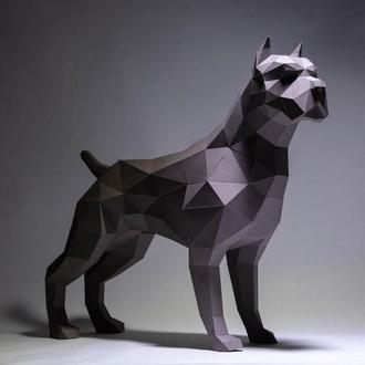Наборы для создания 3д фигур Оригами Паперкрафт Бумажная модель Papercraft Питбуль
