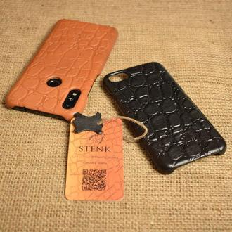 Пластиковая накладка Stenk Cover затянутая натуральной кожей тиснение Рептилия Чёрный Коричневый
