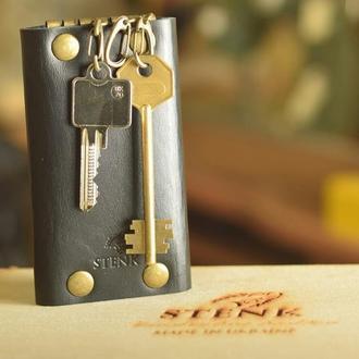 Кожаная ключница на 6 карабинов Stenk Keyholder Black Чёрная отделение для карты или денег