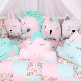 Комплект в кроватку в Розово-мятных цветах