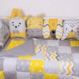 Комплект в кроватку в Серо-желтых тонах