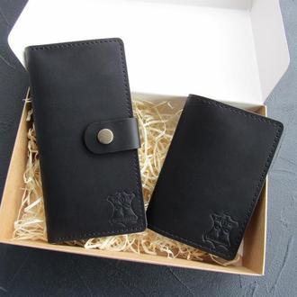 Подарочный набор из кожаных изделий: кошелек-клатч +обложка на паспорт
