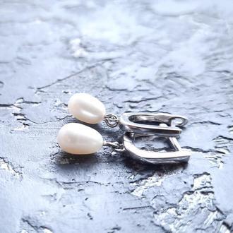 Серебряные серьги с натуральным жемчугом в форме капли серьги для невесты подарок девушке