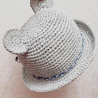 Детская шляпка из рафии с ушками