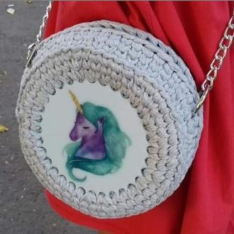 Детская сумочка с единорогом из трикотажной пряжи с акриловой заготовкой с рисунком