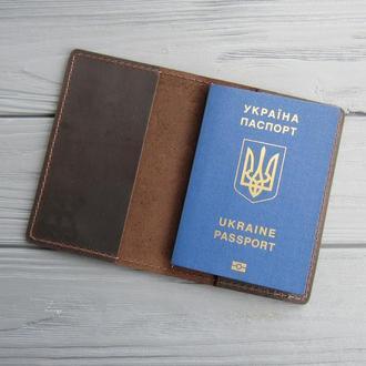 Обложка на паспорт из натуральной кожи_темный шоколад_225