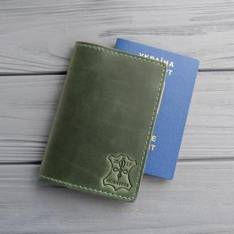 Кожаная обложка для паспорта_зеленый