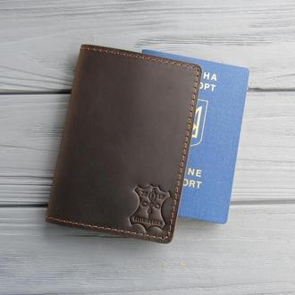 Кожаная обложка для паспорта_шоколад