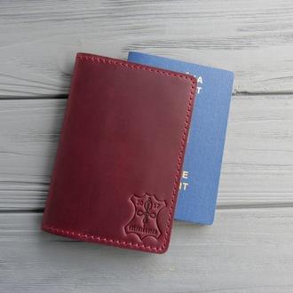 Кожаная обложка для паспорта_марсала