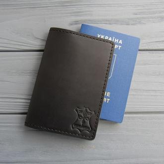 Кожаная обложка для паспорта_черный