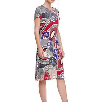 Платье летнее трикотажное с абстрактным принтом