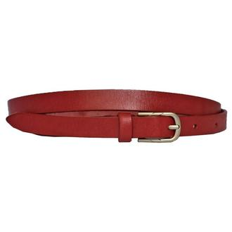 Classic15с1 женский кожаный красный узкий ремень кожанный пояс натуральная кожа