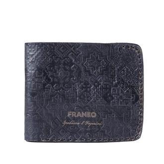 Черное кожаное портмоне с украинским орнаментом Franko pattern black Big wallet
