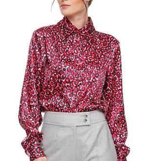 Рубашка женская шелковая черно-лиловый принт