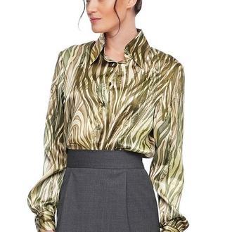 Рубашка женская шелковая зеленый принт