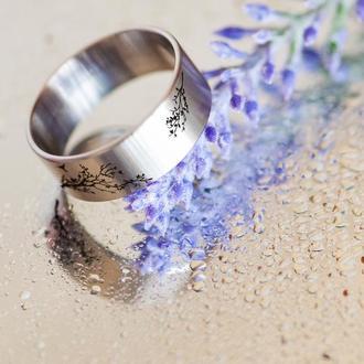 Широкое женское кольцо с рисунком дерева, медицинская сталь