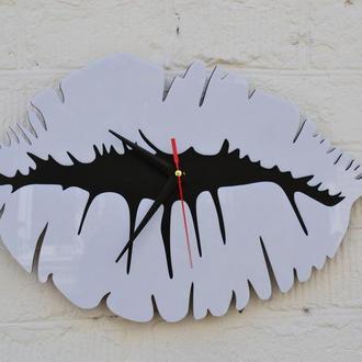 Деревянные настенные часы, часы-губы, Часы настенные, настенные часы из дерева и акрила