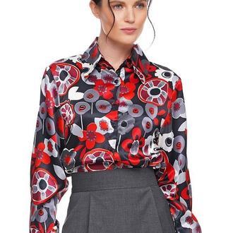 Рубашка женская шелковая черная с цветами