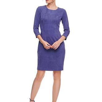 Платье футляр замшевое мини серо-голубое