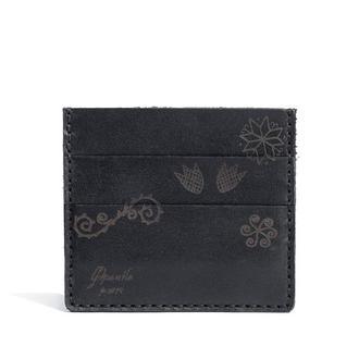 Шкіряний чорний кардхолдер Franko Trypillia black Small cardholder