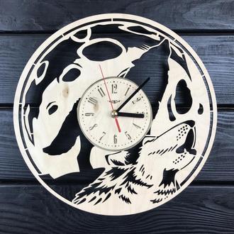 Концептуальные настенные часы из дерева «Полная луна»