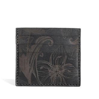 Шкіряний чорний кардхолдер Franko Nata flowers black Small cardholder