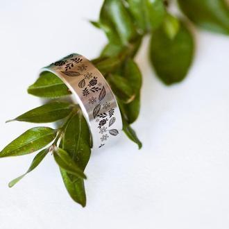 Женское кольцо с цветочным узором, ювелирная сталь