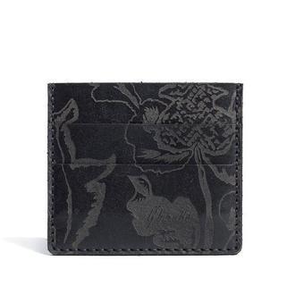 Чорна шкіряна візитниця Franko Kozak flowers black Small cardholder