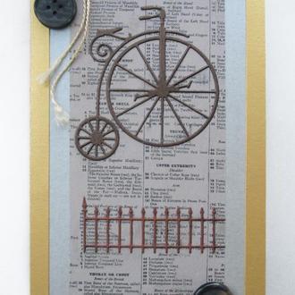 Открытка ретро велосипед