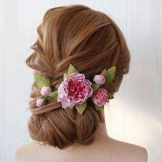 Квіти в зачіску. Шпильки з рожевими квітами. Заколка з квітами.